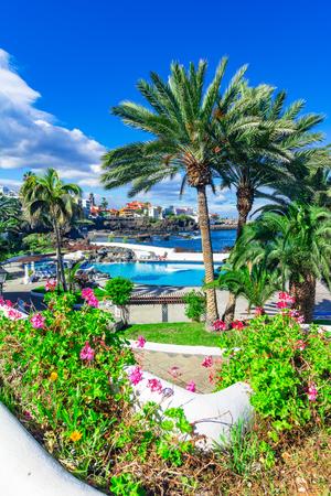 Puerto de la Cruz, Tenerife, Canary Islands, Spain: Beautifully saltwater pools in Puerto de la Cruz in a beautifull day Stock Photo