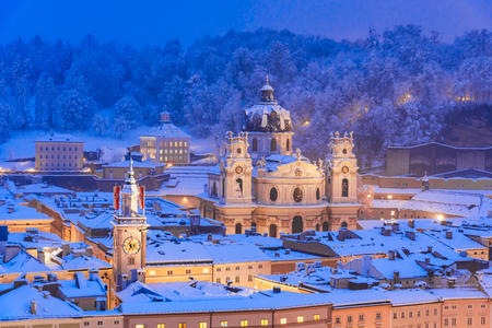 Salzburg, Austria: The Kollegienkirche, Collegiate Church, is the church of the University of Salzburg, covered with snow, during winter