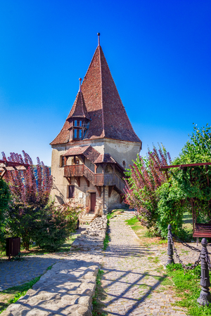 Sigisoara, Romania: The Shoemakers Tower in the Medieval Town of Sigisoara, in a beatiful day of summer Reklamní fotografie