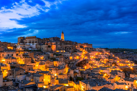 Matera, Basilicata, Italy: Overview of the old town - Sassi di Matera, European Capital of Culture, at dawn Reklamní fotografie