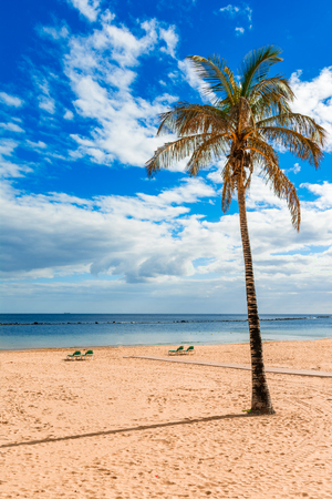 Las Teresitas, Tenerife,Canary islands,Spain: Playa de Las Teresitas, a famous beach near Santa Cruz de Tenerife with scenic San Andres village.
