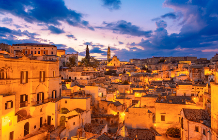 Matera, Basilicata, Italy: Night view of the old town - Sassi di Matera, European Capital of Culture, at dawn
