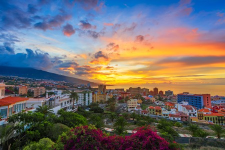 Puerto de la Cruz, Tenerife, Canary islands, Spain: Sceninc view over the city at the sunset time