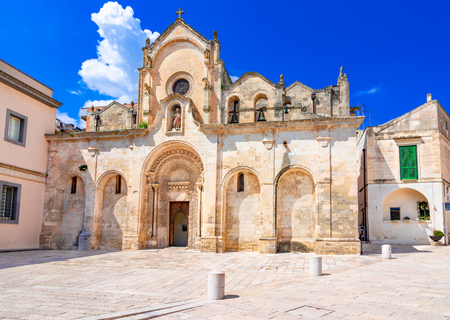 Matera, Basilicata, Italy: The medieval church of San Giovanni Battista or Saint John the Baptist, in the old town of the Unesco heritage city and European capital of Culture 2019
