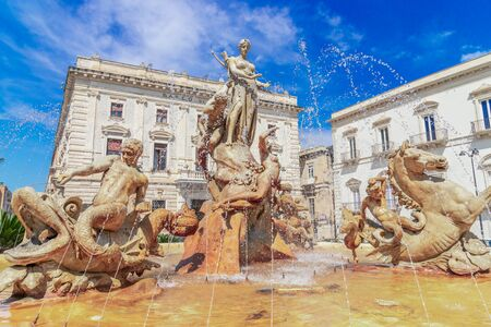 Siracusa, Sicily island, Italy: Diana Fountain in Archimedes Square, Ortigia, Syracuse, a historic city on the island of Sicily, Italy Reklamní fotografie