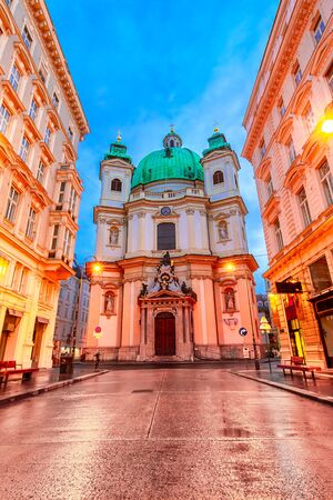Vienna, Austria: Night view of the St. Peter Church
