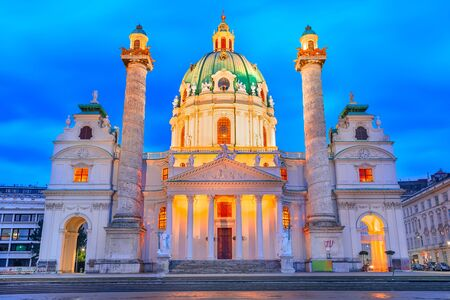 Vienna, Austria: Night view of the Karlskirche or Saint Charles Church at Karlsplatz, in twilight lights, Europe