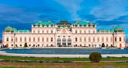 Vienna, Austria: Beautiful view of famous Schloss Belvedere or Upper Belvedere in a beautiful day of springtime