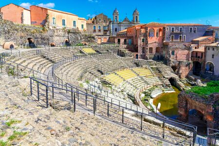 Catania, Sicily island, Italy: Ruins of the ancient Roman theatre, built from the limestone and black lava