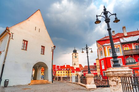 Sibiu, Romania - Lesser Square and Council Tower ,Transylvanian saxon city, one of Romania landmarks