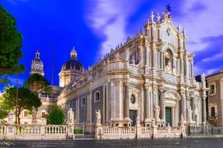 Catania, Sicily island, Italy: Night view of the Cathedral of Santa Agatha in Piazza Duomo Reklamní fotografie