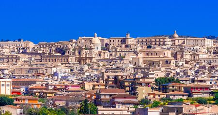 Noto, Sicily island, Italy: Panoramic view of the Noto baroque town in Sicily, southern Italy on the island of Sicily