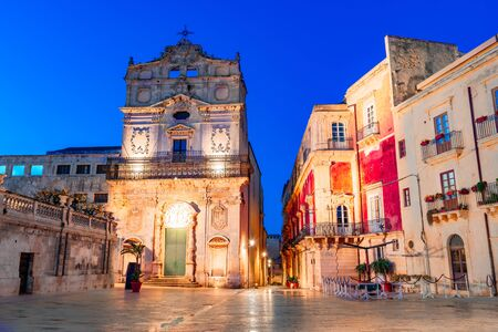 Siracusa, Sicily island, Italy: Night view of the  Church with the Burial of Saint Lucy, Ortigia, Syracuseon the island of Sicily, Italy Reklamní fotografie