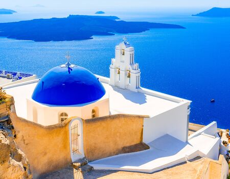 Firostefani, Santorini, Greece: Old greek church and caldera at Aegean Sea - Greek Islands landmark