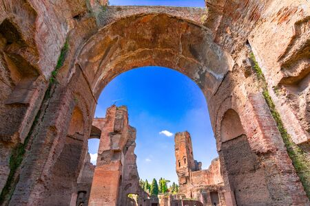Terme di Caracalla or The Baths of Caracalla in Rome, Italy, were the citys second largest Roman public baths, or thermae