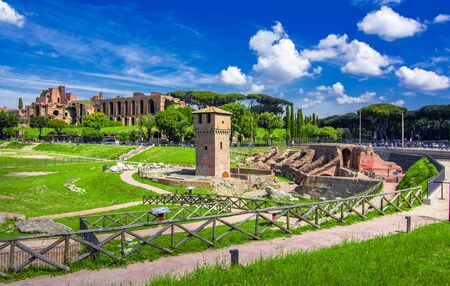 Rome, Italy: Circus Maximus, in a sunny summer day. The Circus Maximus is an ancient Roman chariot-racing stadium and mass entertainment venue Reklamní fotografie