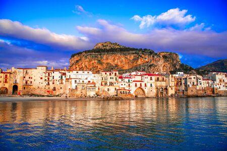 Cefalu, Sicily, Italy: Ligurian Sea and medieval city Cefalu.Province of Palermo, Italy. Reklamní fotografie