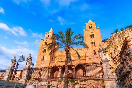 Cefalu, Sicily, Italy: Town square with The Cathedral or Basilica of Cefalu, Duomo di Cefalu, a Roman Catholic church built in the Norman style Reklamní fotografie