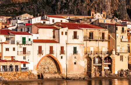 Cefalu, Sicily, Italy: Ligurian Sea and medieval city Cefalu. Province of Palermo, Italy.