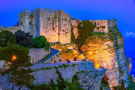 Erice, Sicily, Italy: Night view of the Venere Castle, a Norman fortress, Europe