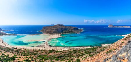 Balos lagoon, Crete island, Greece: Panoramic view of Balos Lagoon and Gramvousa island on Crete, Greece. Cap Tigani in the center