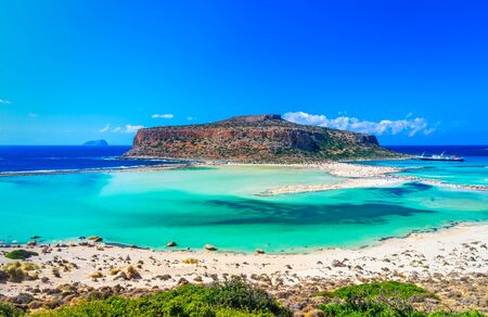 Balos lagoon, Crete island, Greece: Panoramic view of Balos Lagoon on Crete, Greece. Cap Tigani in the center