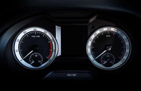Closeup car speedometer with display