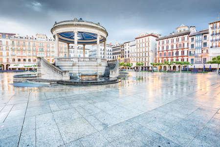 Pamplona Navarra - plaza del Castillo square in rainy evening