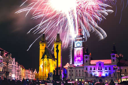 Fireworks in the city center of Hradec Kralove, Czech Republic