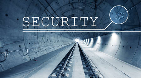 Security with CCTV cameras in modern railway tunnel on the background. Modern digital technology.