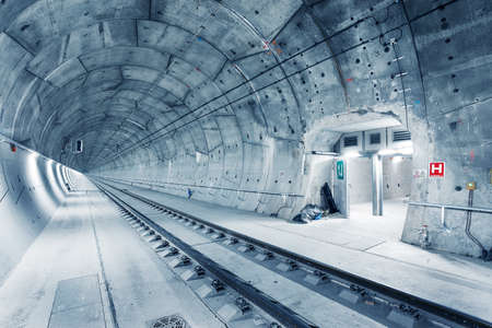 Modern railway tunnel during construction. Ejpovicke tunely/Ejpovice tunnels. Modern technology concept
