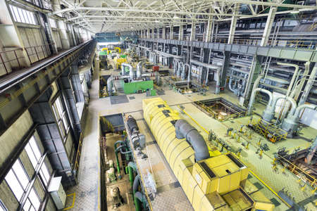 Coal power plant. Industry interior with turbines. Production of electric energy
