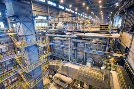 Coal power plant. Industry interior with boilers. Production of electric energy Zdjęcie Seryjne