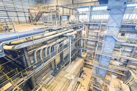 Interior of coal power plant. Industry interior with boilers. Production of electric energy Zdjęcie Seryjne