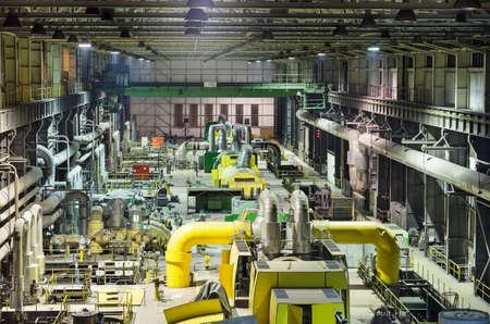 Industry interior of coal power plant. Operation hall with generators. Production of electric energy Zdjęcie Seryjne