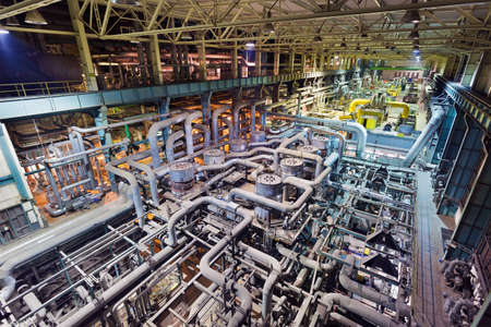 Coal power plant interior with pipes. Heat exchanger and energy equipments Zdjęcie Seryjne
