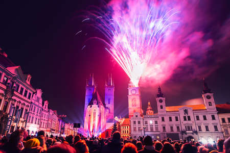 New Year fireworks in historic city center of Hradec Kralove, Czech Republic