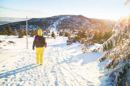 Tourist in Krkonose mountains. Girl in yellow winter clothes on winter tour over the mountain ridges Zdjęcie Seryjne