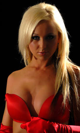 sexy blonde woman  in red bra photo