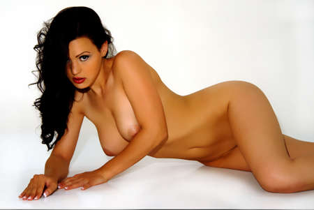 breasts pretty: Brunette glamour model - nude reclining on side