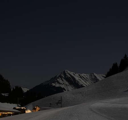 alpine winter landscape at night