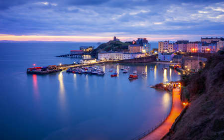 Tenby harbour, wales just before sunrise