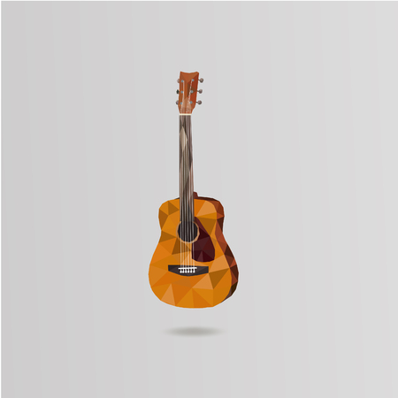 Illustration acoustic guitar. Basic element polygon and triangle the art low poly. Can be used as icons or for logos. Illustration