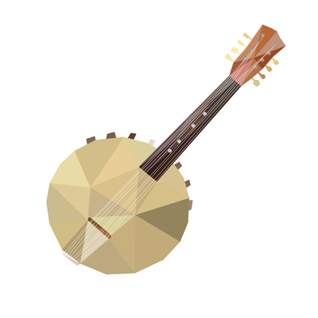 Illustration banjo in LOW POLY style.