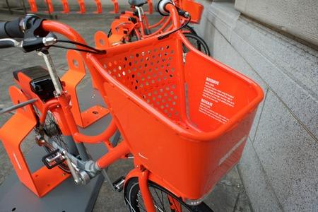 PORTLAND, OREGON JULY 27 2016, A Portland Biketown bike share program bike basket with instructions on use and rental