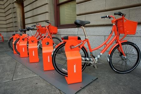 PORTLAND, OREGON JULY 27 2016, Biketown Bike share program bike rack installed at Portland City Hall.