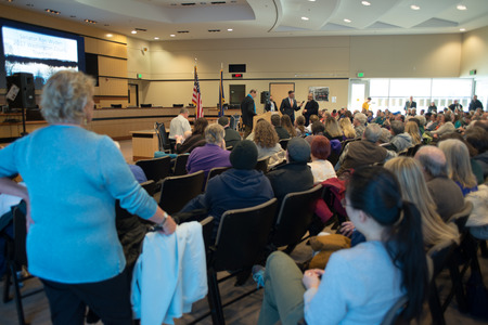 Ron Wyden, Democratic US Senator for Oregon being asked a question at his Washington County town hall. Editorial