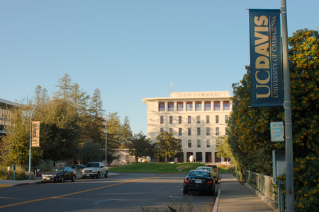 DAVIS CALIFORNIA, NOVEMBER 23 2016,  Looking down the street looking towards Mrak Hall, on the University of California, Davis campus. Editorial