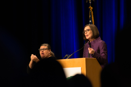 PORTLAND, OREGON NOVEMBER 8 2016, At the Election Night Party for the Democratic Party of Oregon. Kate Brown, Governor of Oregon, giving her acceptance speech after winning the election. Stock Photo - 78214806