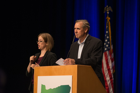 PORTLAND, OREGON NOVEMBER 8 2016, At the Election Night Party for the Democratic Party of Oregon, Senator Jeff Merkley speaking before introducing Ron Wyden for his acceptance speech for reelection.
